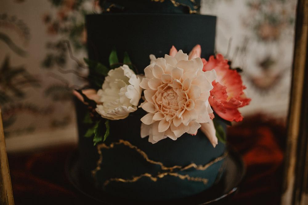 Cake Black Sugar Flowers Black Gold Edwardian Wedding Ideas Camilla Andrea Photography