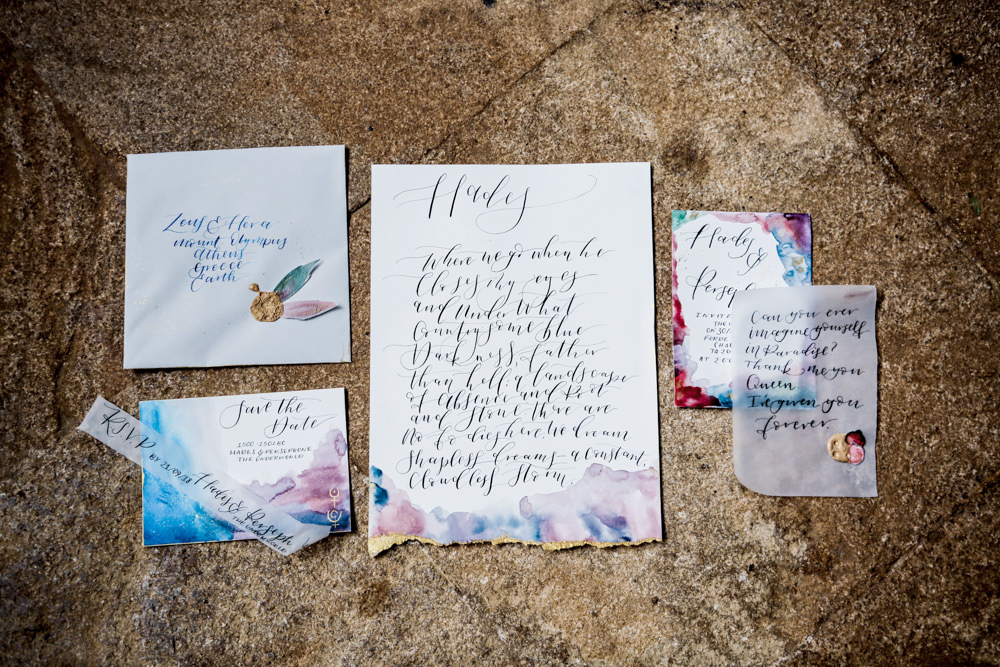 Stationery Invitations Invite Calligraphy Watercolour Ethereal Romantic Wedding Ideas Katherine Newman Photography