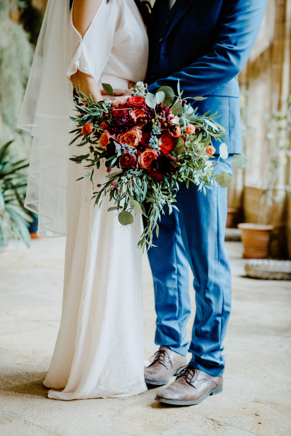 Bouquet Flowers Bride Bridal Greenery Foliage Rose Red Orange Cosmos Dahlias Oxypetalum Ethereal Romantic Wedding Ideas Katherine Newman Photography