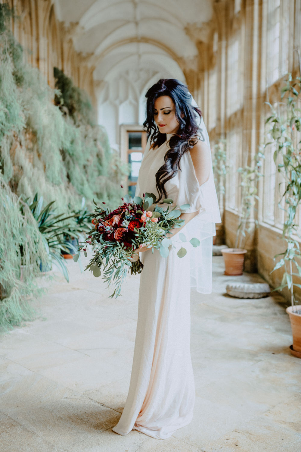 Dress Gown Bride Bridal Cold Shoulder Sleeves Veil Ethereal Romantic Wedding Ideas Katherine Newman Photography