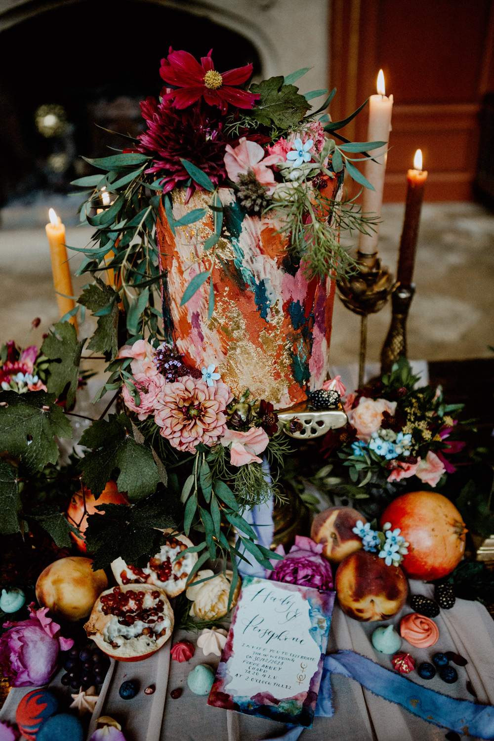 Cake Table Candles Flowers Greenery Fruit Paint Brush Stroke Art Ethereal Romantic Wedding Ideas Katherine Newman Photography