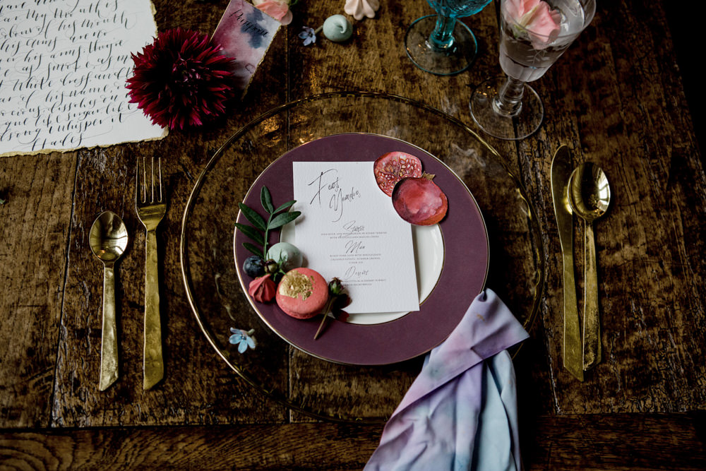 Place Setting Plate Decor Gold Cutlery Plum Stationery Napkin Ethereal Romantic Wedding Ideas Katherine Newman Photography