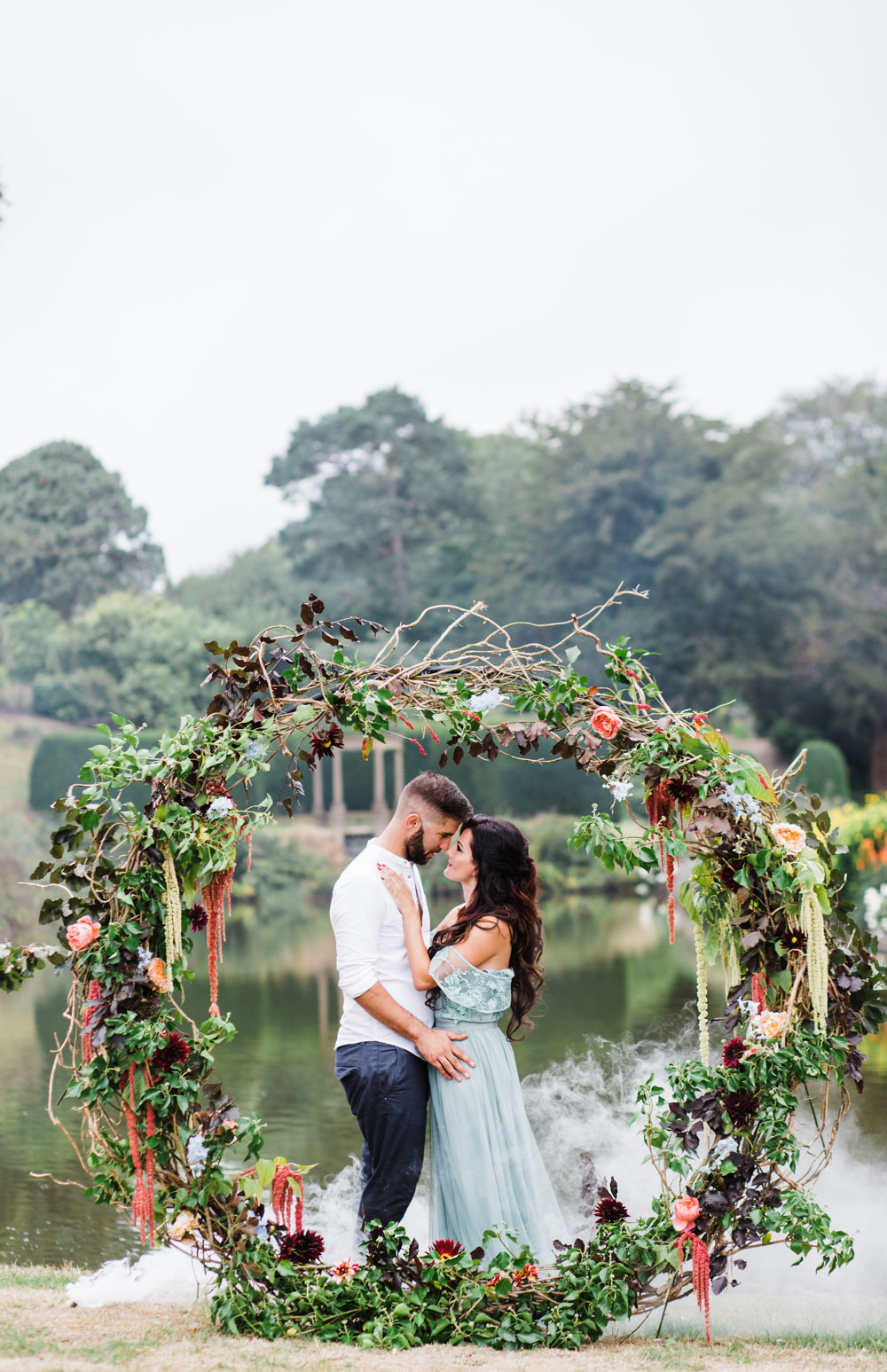 Flowers Moongate Arch Backdrop Greenery Foliage Amaranthus Willow Dahlias Ethereal Romantic Wedding Ideas Katherine Newman Photography