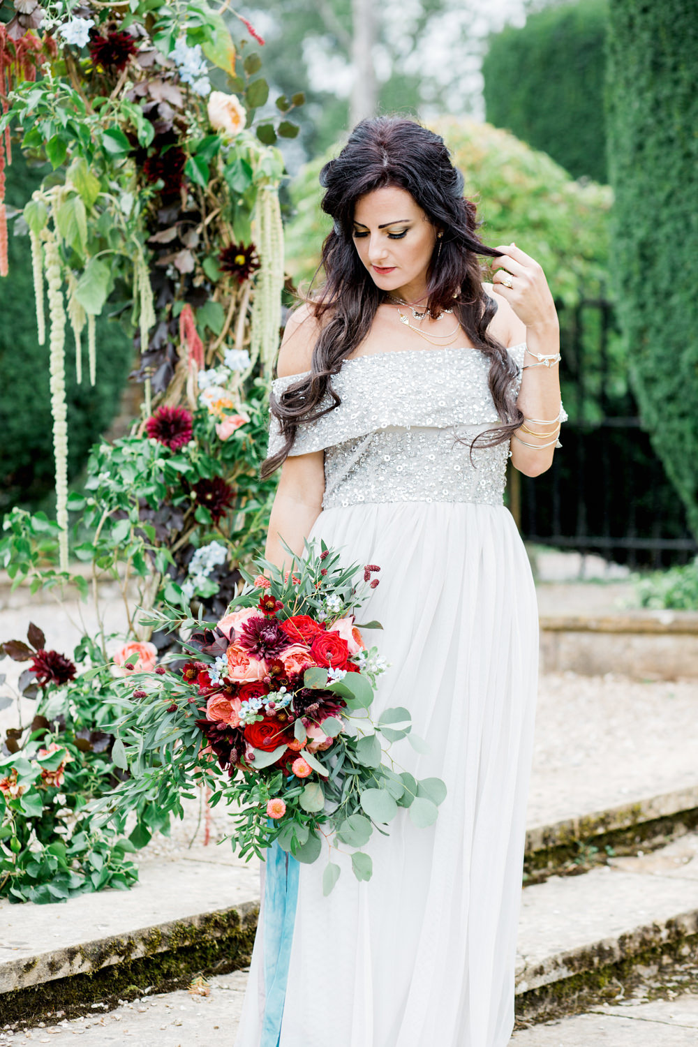 Dress Gown Bride Bridal Blue Sequin Sleeves Ethereal Romantic Wedding Ideas Katherine Newman Photography