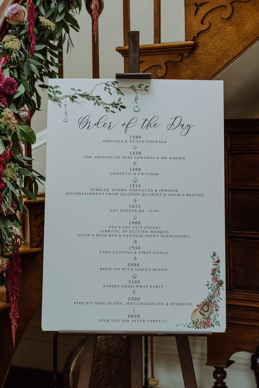 Order of the Day Sign Modern Calligraphy Felin Newydd House Wedding Christopherian.co.uk