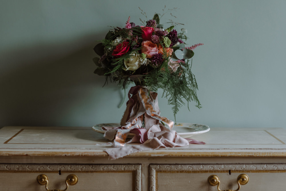 Bride Bridal Bouquet Carnation Peony Pink Greenery Foliage Felin Newydd House Wedding Christopherian.co.uk