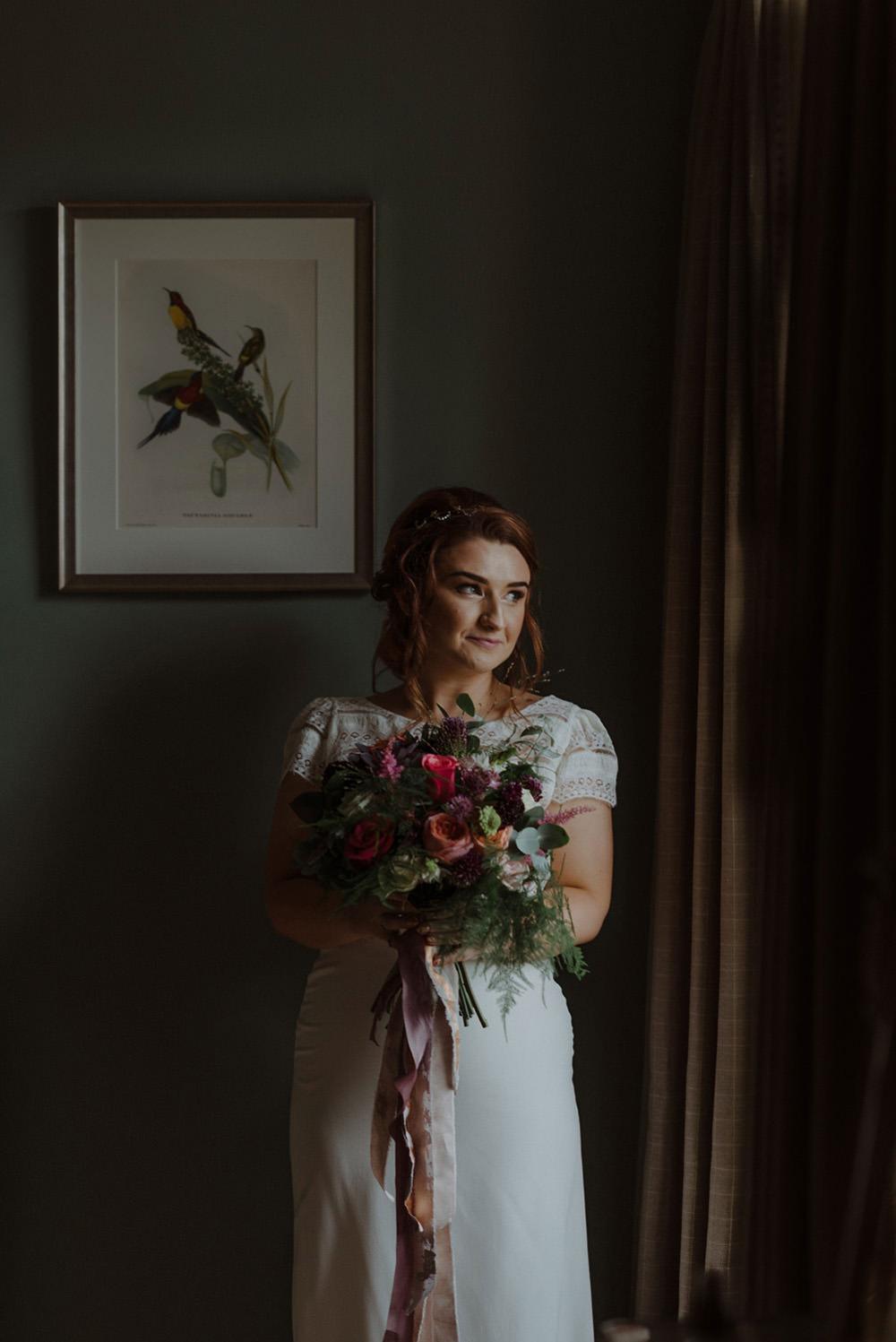 Bride Bridal Bouquet Carnation Peony Pink Greenery Foliage Short Sleeve Slip Dress Felin Newydd House Wedding Christopherian.co.uk