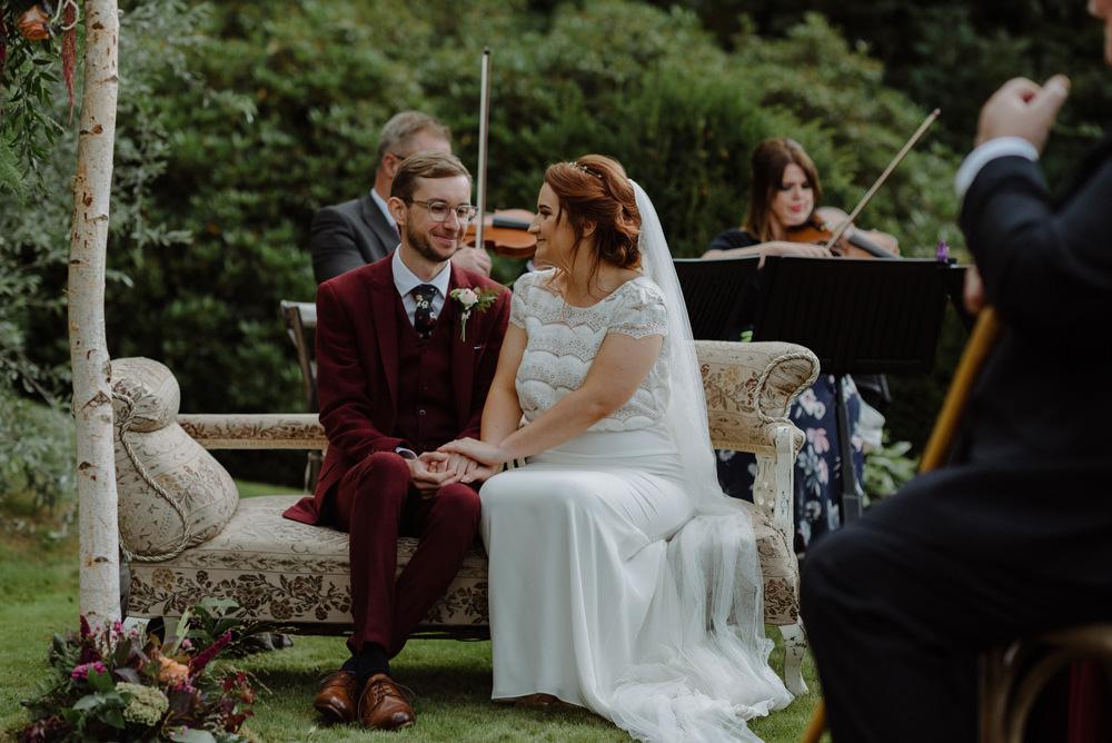 Bride Bridal Short Cap Sleeve Slip Dress Laure de Sagazan Dress Gown V Back Veil Red Wine Burgundy Suit Felin Newydd House Wedding Christopherian.co.uk