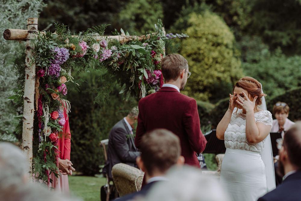 Bride Bridal Short Cap Sleeve Slip Dress Laure de Sagazan Dress Gown V Back Veil Red Wine Burgundy Suit Ceremony Arch Floral Foliage Felin Newydd House Wedding Christopherian.co.uk