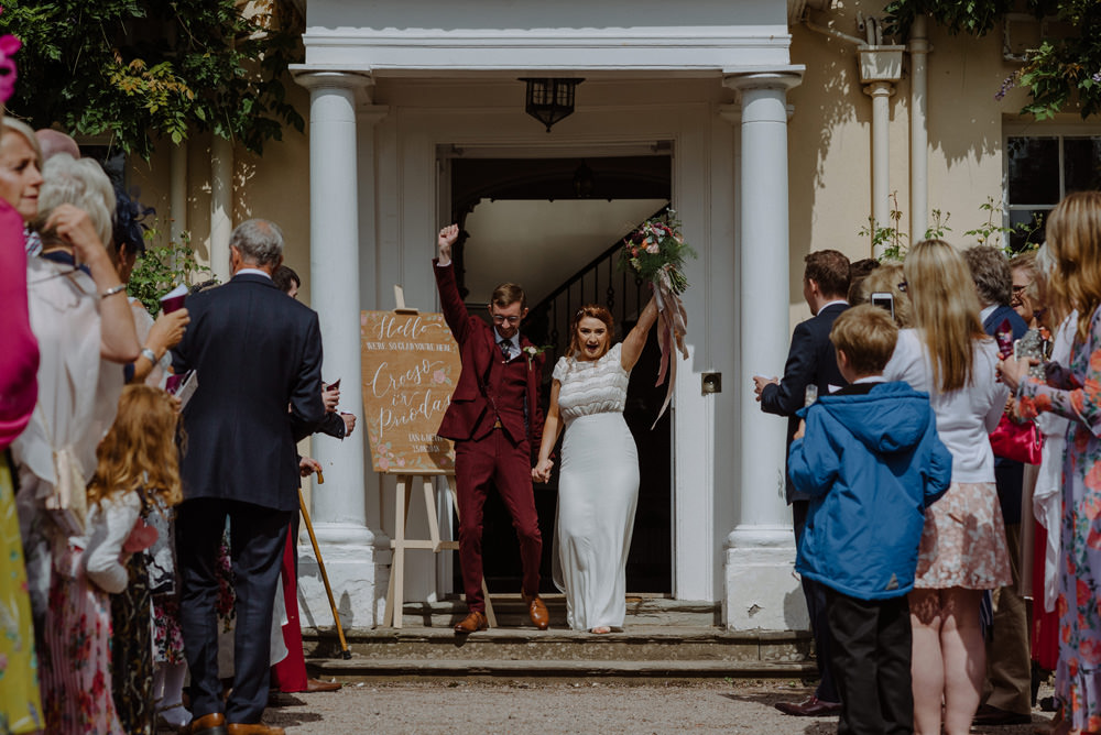 Bride Bridal Short Cap Sleeve Slip Dress Laure de Sagazan Dress Gown V Back Veil Red Wine Burgundy Suit Bouquet Ribbon Felin Newydd House Wedding Christopherian.co.uk