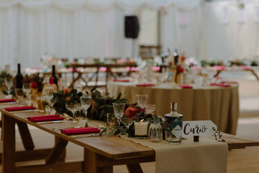 Banqueting Table Runner Red Napkin Foliage Garland Felin Newydd House Wedding Christopherian.co.uk