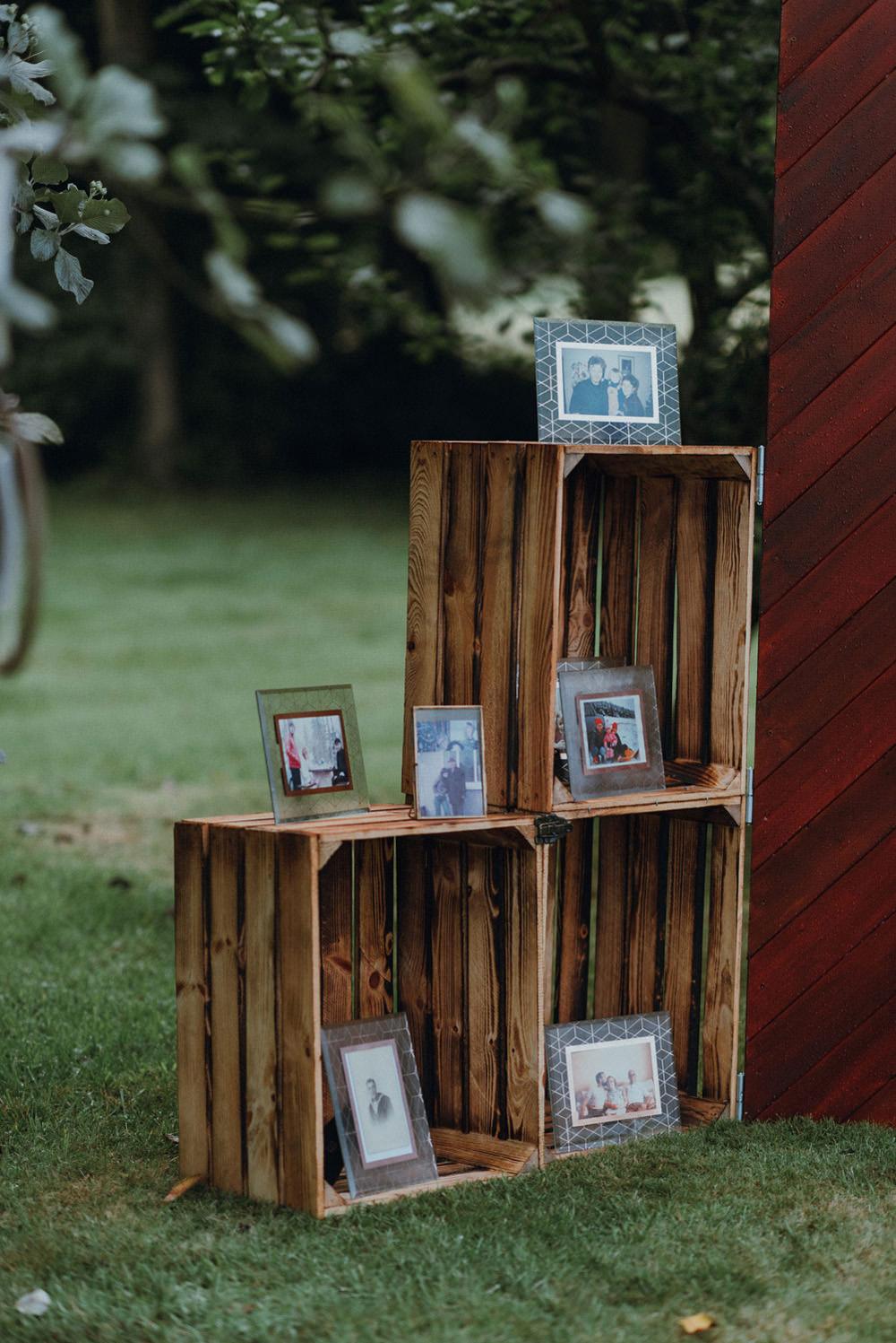 Vintage Wooden Crates Photo Display Felin Newydd House Wedding Christopherian.co.uk