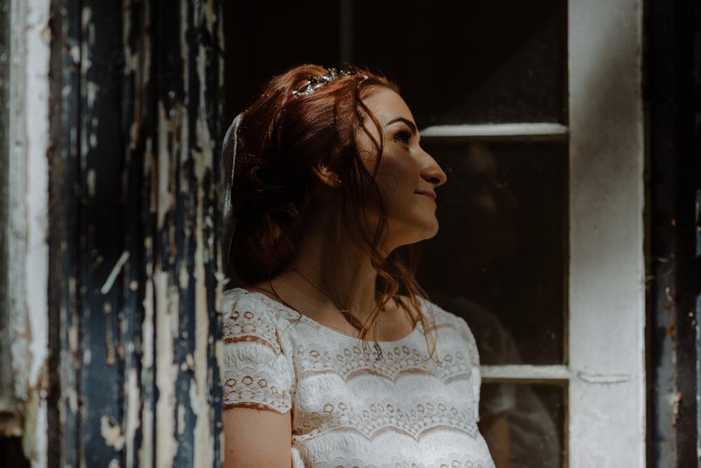 Bride Bridal Short Cap Sleeve Lace Dress Felin Newydd House Wedding Christopherian.co.uk