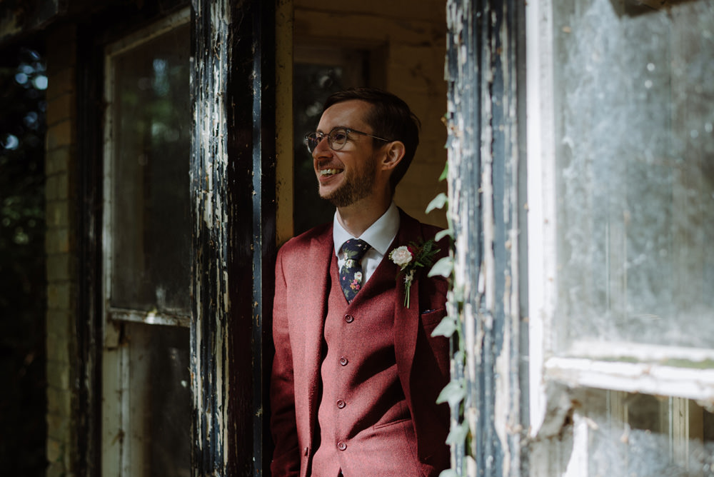 Three Piece Suit Burgundy Red Wine Groom Felin Newydd House Wedding Christopherian.co.uk