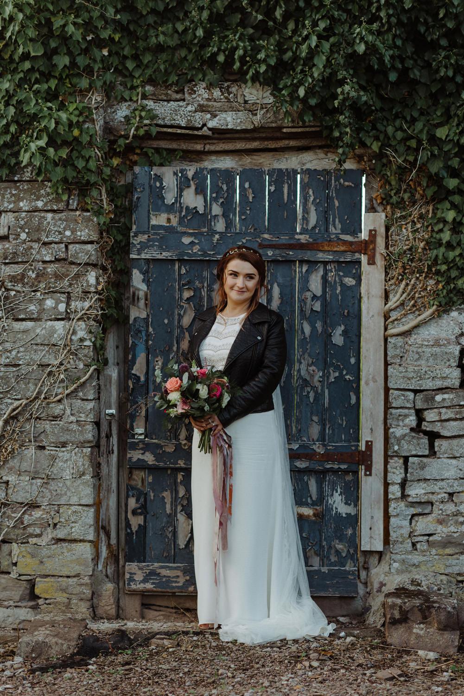 Leather Jacket Bride Slip Dress Bouquet Felin Newydd House Wedding Christopherian.co.uk