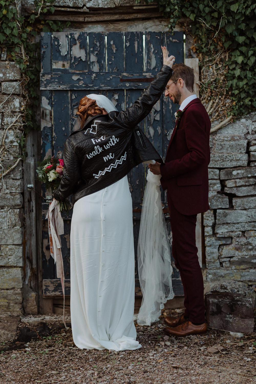 Leather Jacket Bride Bridal Short Cap Sleeve Slip Dress Laure de Sagazan Dress Gown V Back Veil Red Wine Burgundy Suit Felin Newydd House Wedding Christopherian.co.uk