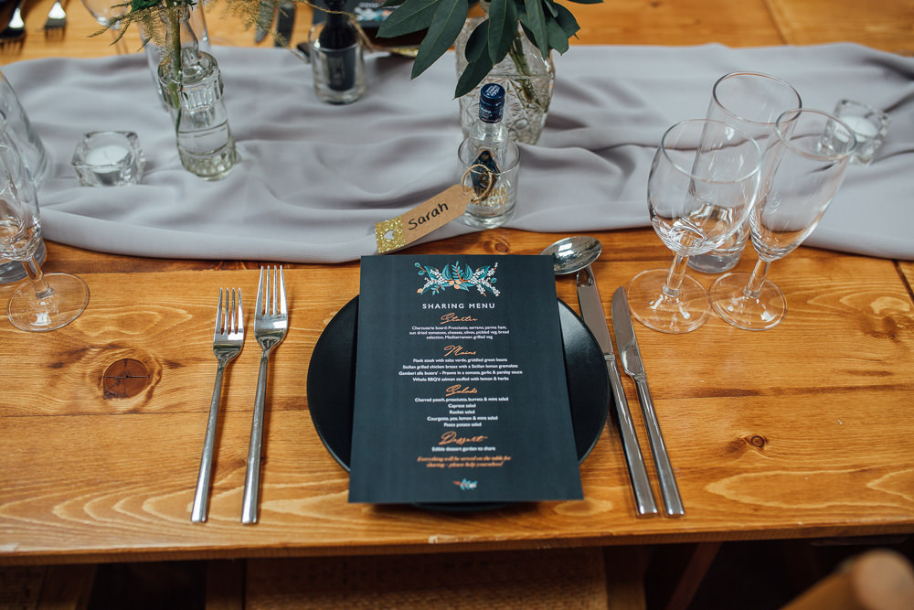 Place Setting Decor Table Silk Runner Grey Foral Stationery Fivefourstudios Wedding Ellie Grace Photography