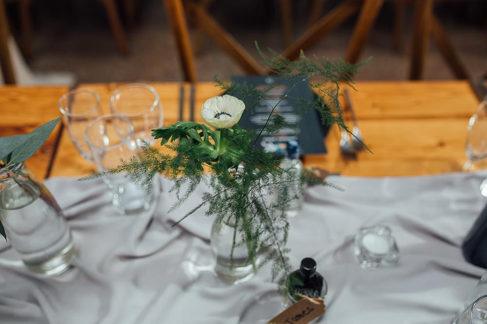 Bottle Flowers Table Centrepiece Fivefourstudios Wedding Ellie Grace Photography
