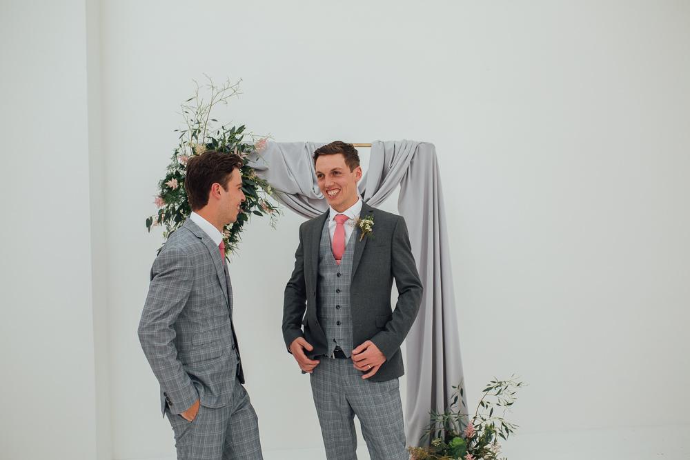 Groom Groomsmen Suit Grey Check Pink Tie Fivefourstudios Wedding Ellie Grace Photography