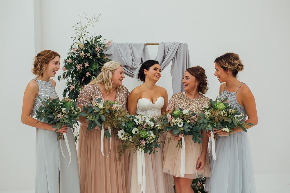 Bridesmaid Bridesmaids Dress Dresses Sequin Mismatched Pastel Fivefourstudios Wedding Ellie Grace Photography