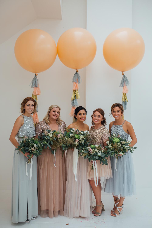 Bridesmaid Bridesmaids Dress Dresses Sequin Mismatched Pastel Giant Balloons Tassels Fivefourstudios Wedding Ellie Grace Photography