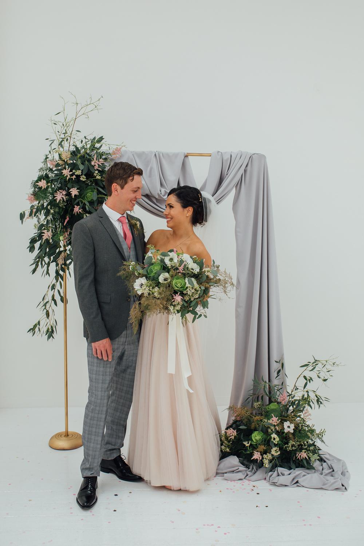 Backdrop Arch Flowers Floral Drapes Fabric Fivefourstudios Wedding Ellie Grace Photography