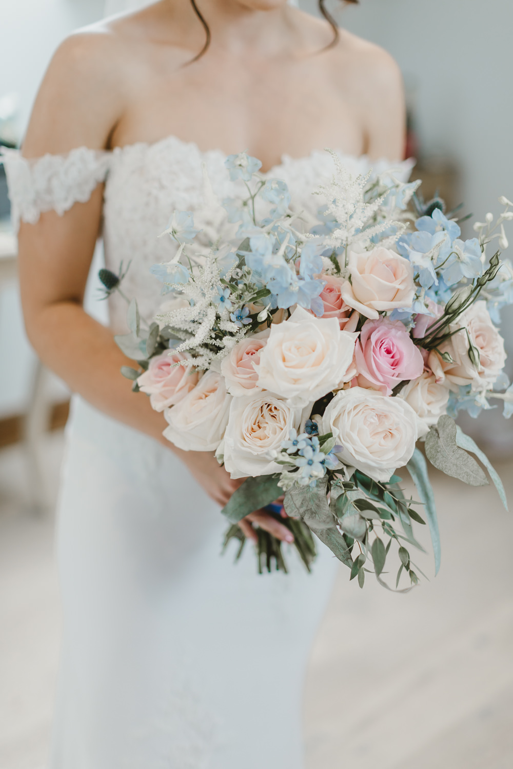 Bouquet Flowers Bride Bridal Pink Blue Rose Astilbe GG's Yard Wedding Amy Lou Photography