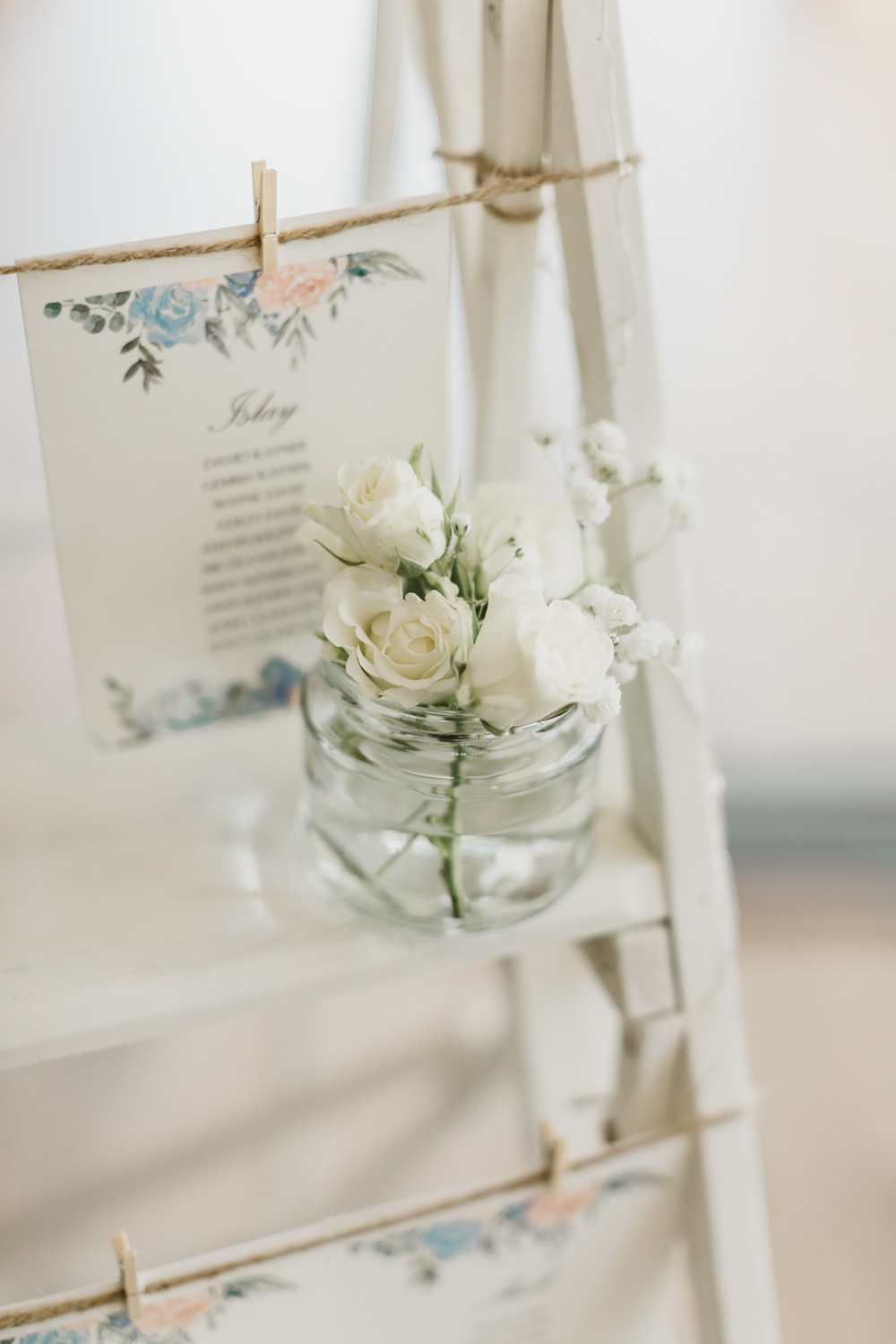 White Wooden Ladder Seating Plan Table Chart Flowers GG's Yard Wedding Amy Lou Photography