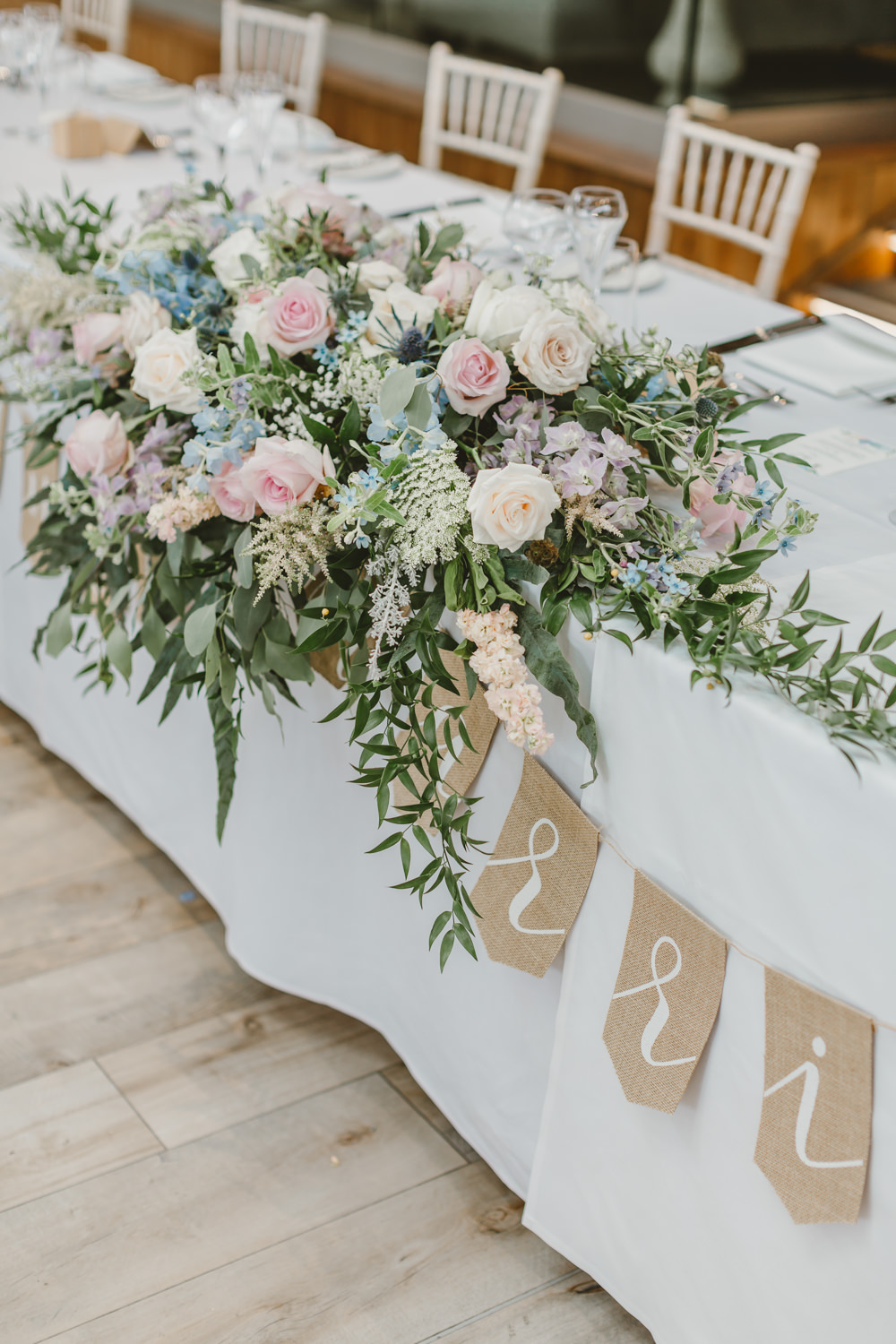 Top Table Flowers Arrangement Pink Blue Rose Greenery Foliage GG's Yard Wedding Amy Lou Photography