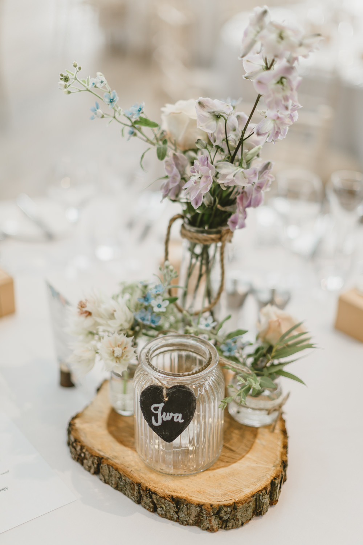 Table Centrepiece Decor Log Slice Flowers Jars Pretty Slate Heart Table Name GG's Yard Wedding Amy Lou Photography