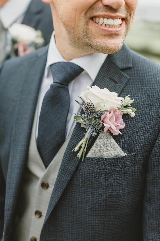 Groom Suit Groomsmen Navy Tie Waistcoat Rose Thistle Buttonhole GG's Yard Wedding Amy Lou Photography