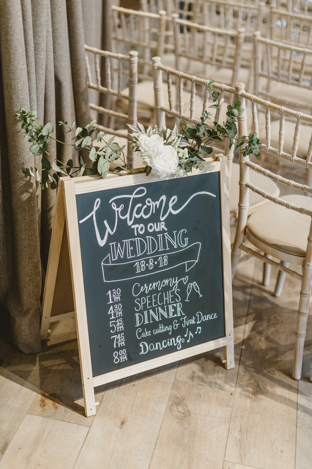 Welcome Sign Chalk Board Calligraphy Flowers GG's Yard Wedding Amy Lou Photography
