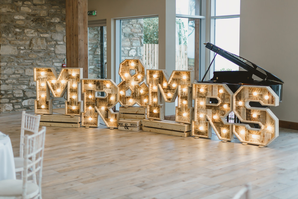 Wooden Letter Lights Lighting GG's Yard Wedding Amy Lou Photography