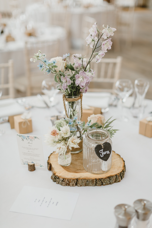 Table Centrepiece Decor Log Slice Flowers Jars Pretty GG's Yard Wedding Amy Lou Photography