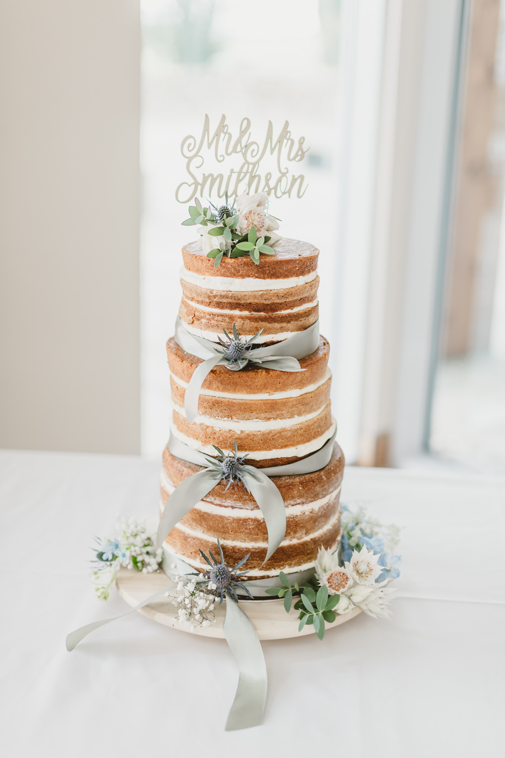 Naked Cake Sponge Layer Buttercream Flowers Personalied Name Topper GG's Yard Wedding Amy Lou Photography