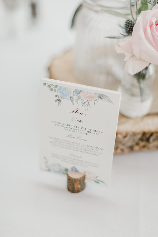 Floral Menu Log Holder Stationery GG's Yard Wedding Amy Lou Photography