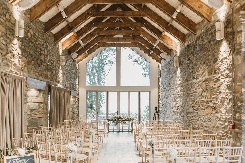 Barn Venue Scotland Ceremony Aisle GG's Yard Wedding Amy Lou Photography