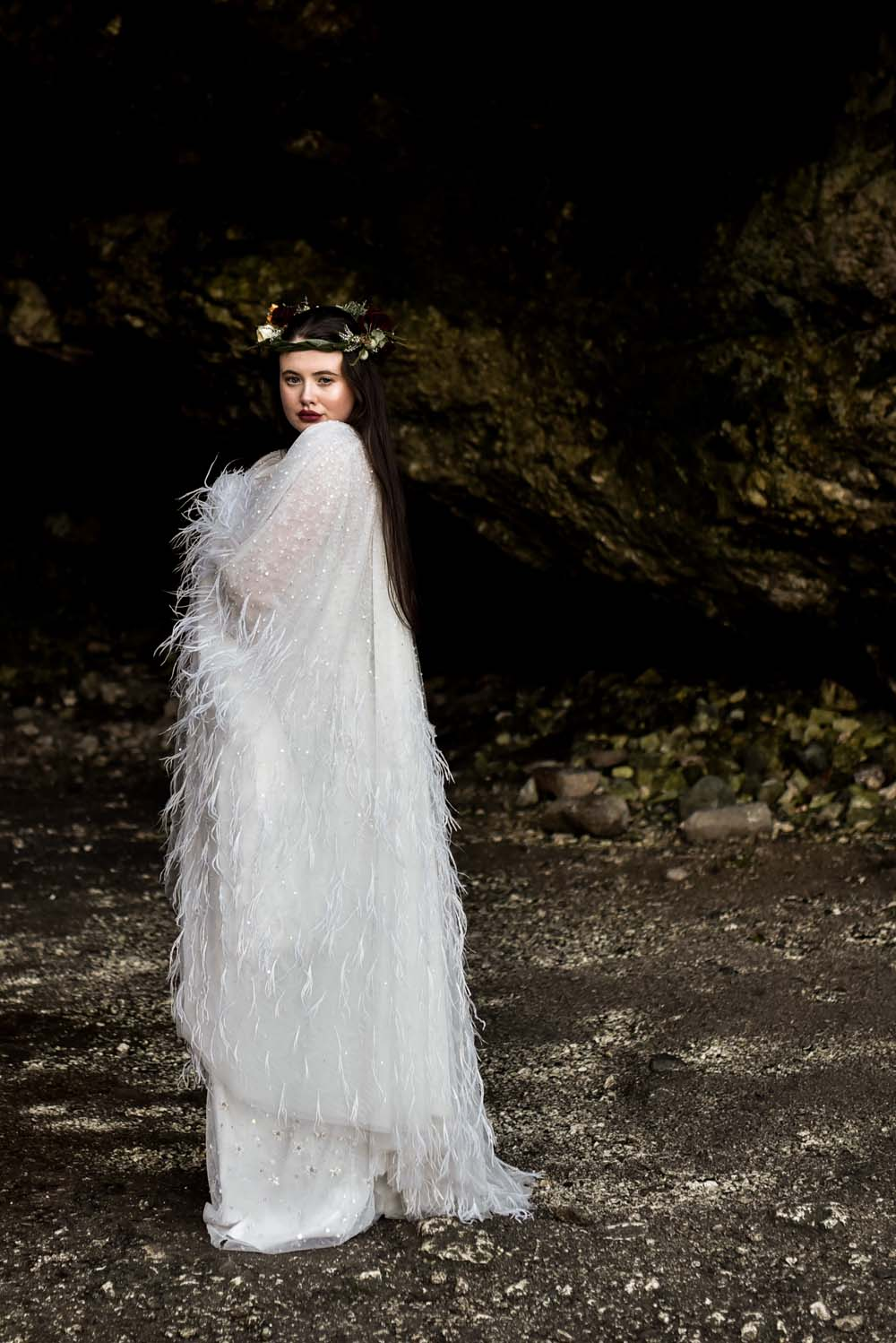 Dress Gown Bride Bridal Eliza Jane Howell Celestial Stars Starry Feather Cape Flower Crown Game Of Thrones Wedding Tara Florence