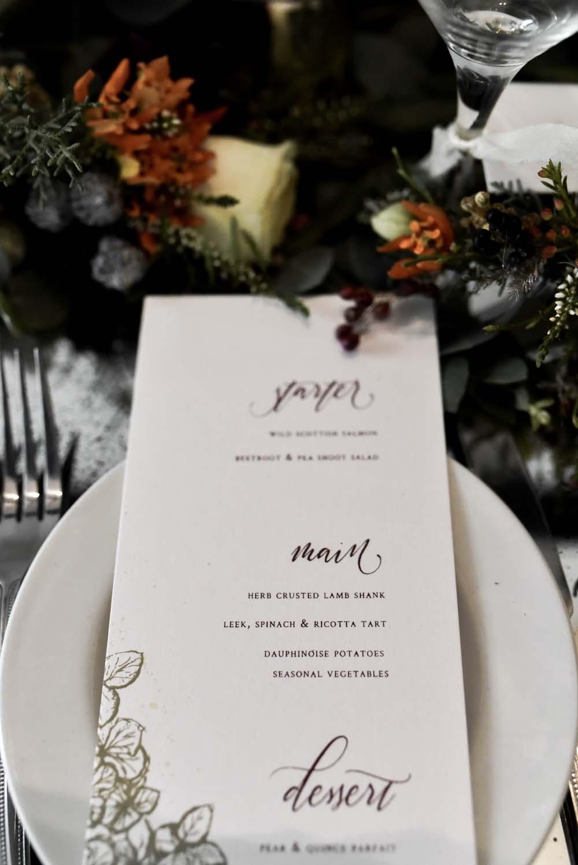 Calligraphy Stationery Botanical Menu Game Of Thrones Wedding Tara Florence
