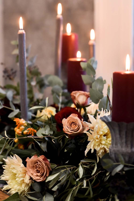 Table Flowers Orange Rose Greenery Candles Decor Game Of Thrones Wedding Tara Florence