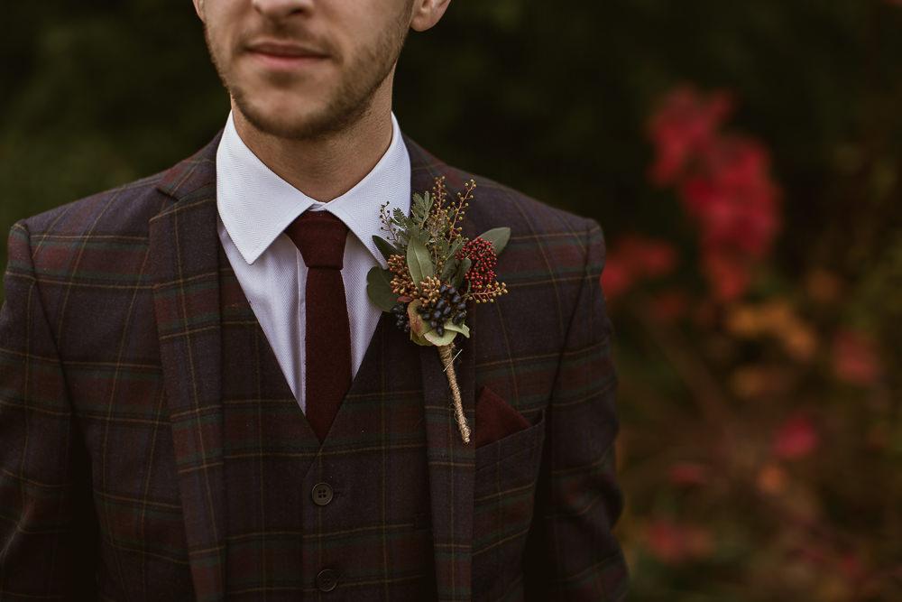Groom Style Suit Outfit Attire Tartan Burgundy Tie Buttonhole Gate Street Barn Wedding The Springles