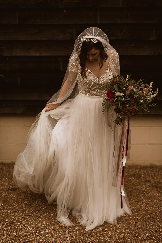 Sottero and Midgley Kallin Top Skirt Bride Bridal Beaded Sequin Cap Sleeve Veil Gate Street Barn Wedding The Springles