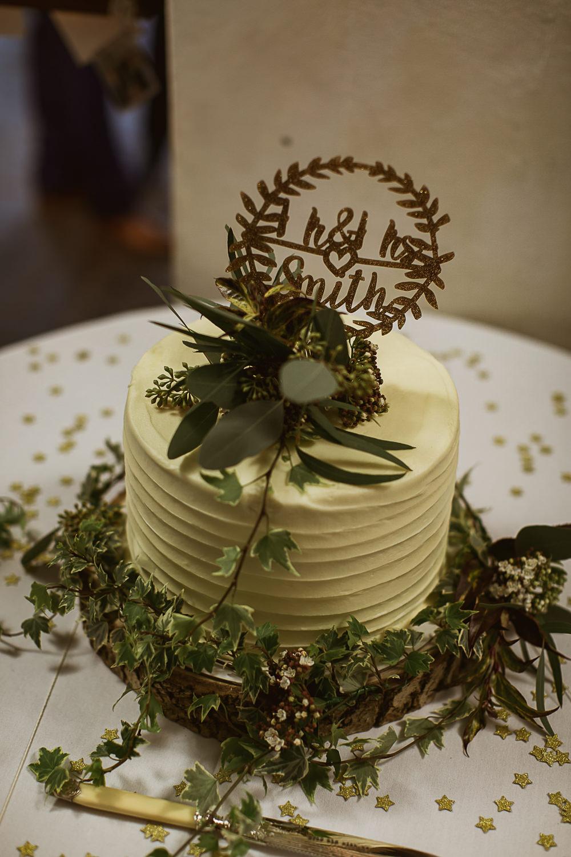 Buttercream Cake Foliage Greenery Topper Gate Street Barn Wedding The Springles