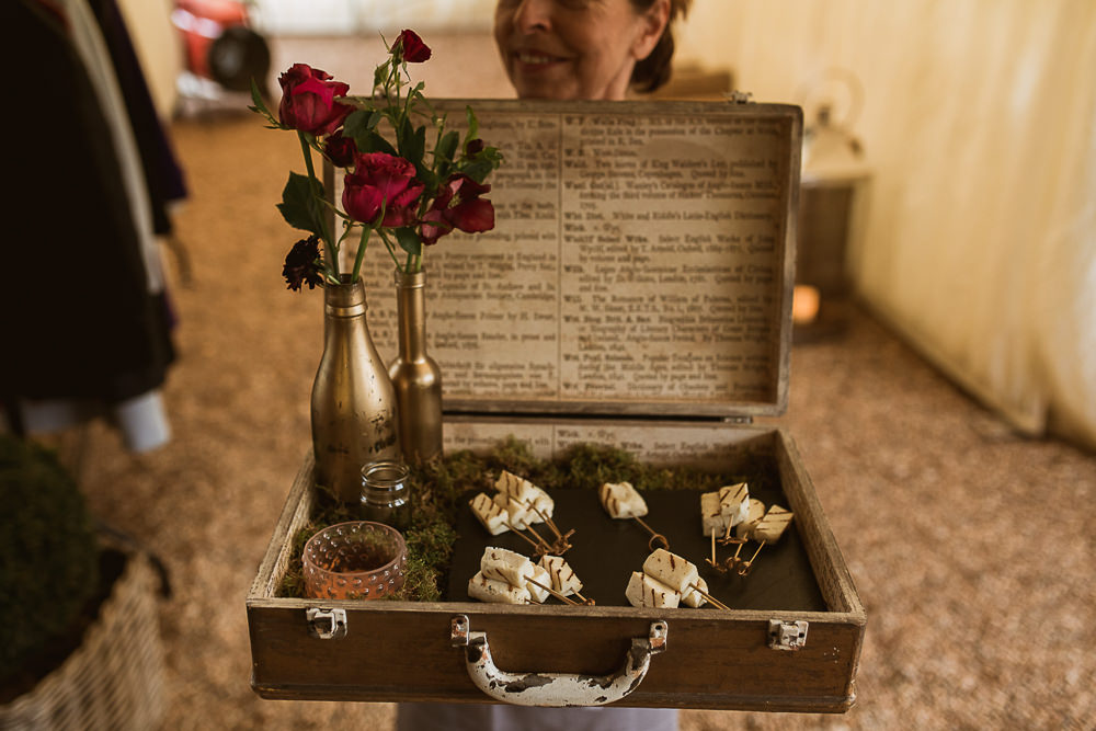 Canapes Suitcase Gate Street Barn Wedding The Springles
