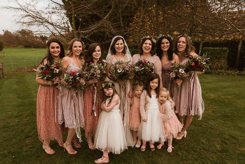 Bridesmaids Pink Coral Dress Dresses Gate Street Barn Wedding The Springles