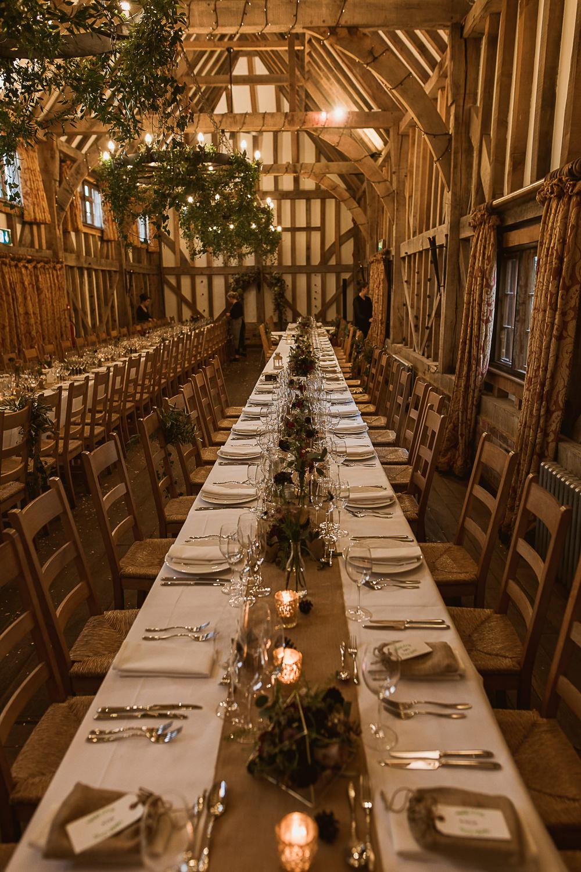 Foliage Greenery Hoop Chandeliers Long Tables Gate Street Barn Wedding The Springles