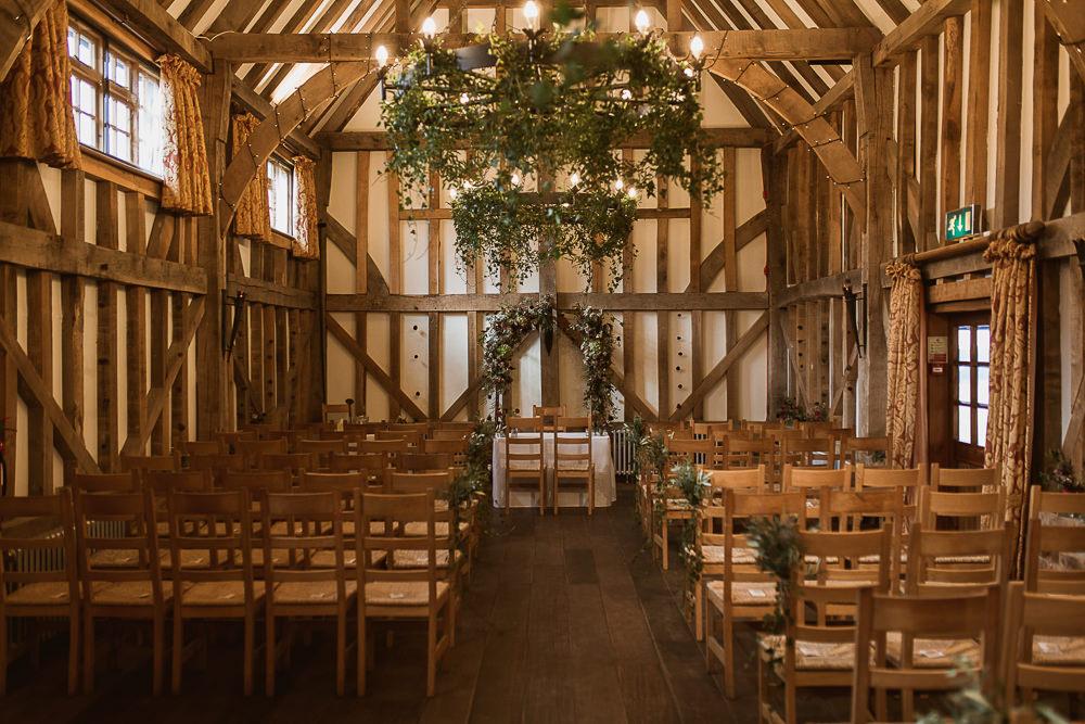 Foliage Greenery Hoop Chandeliers Gate Street Barn Wedding The Springles