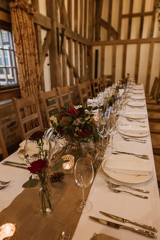 Long Tables Flowers Hessian Runner Burlap Gate Street Barn Wedding The Springles