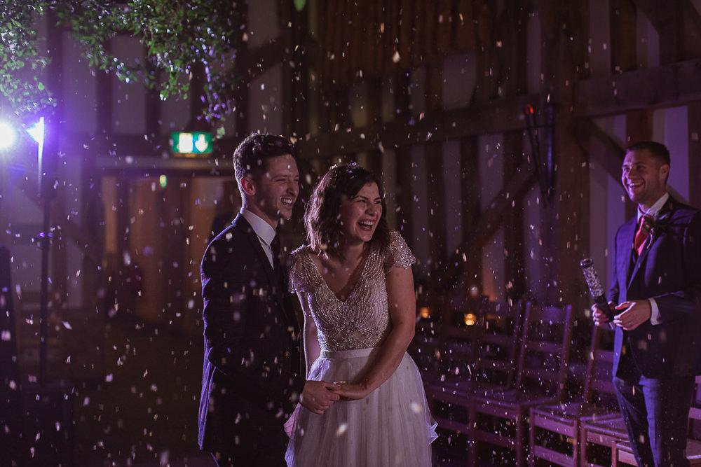 Confetti Cannon Dancefloor Gate Street Barn Wedding The Springles