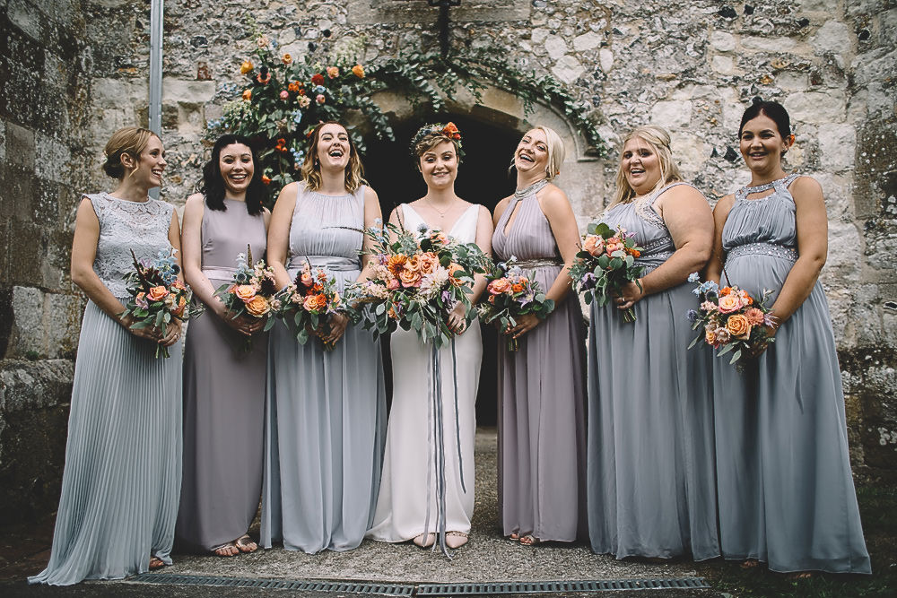 Bridesmaids Bridesmaid Dress Dresses Long Maxi Grey Gilbert Whites House Barn Wedding Carrie Lavers Photography